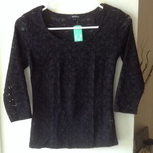 New Black Crochet Blouse